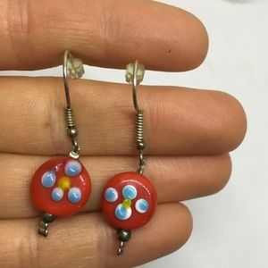 Glass bead earrings drop dangle red and blue